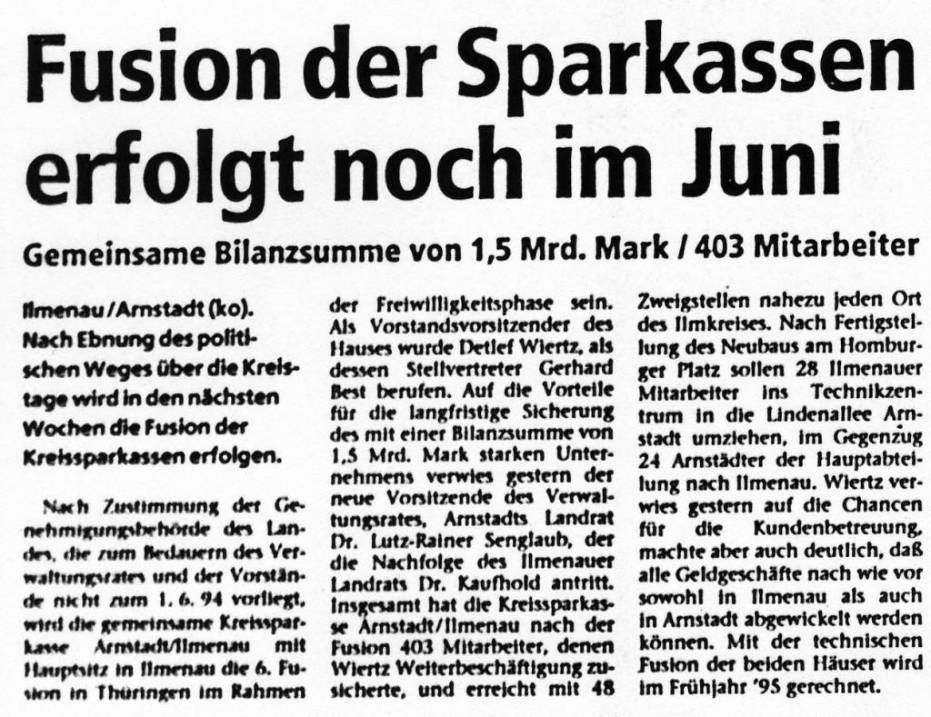 01-06-94 Fusion der Sparkassen erfolgt noch im Juni