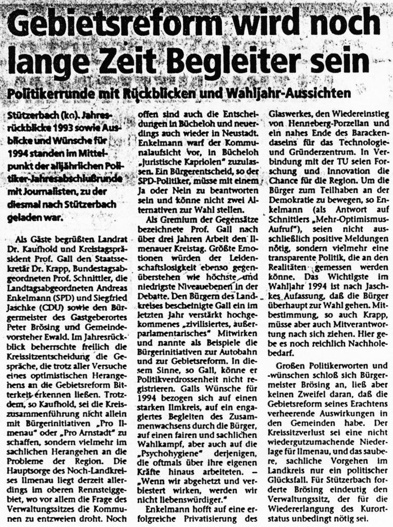 03-01-94 Gebietsreform wird noch lange Zeit Begleiter sein