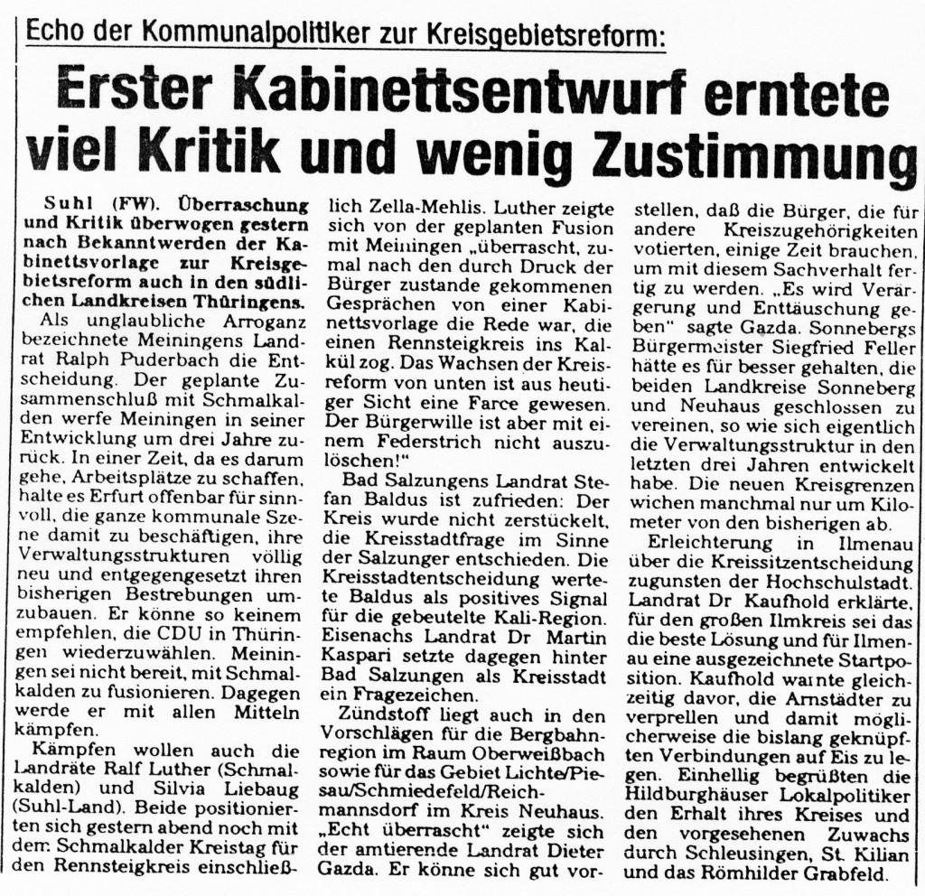 03-03-93 Erster Kabinettsentwurf erntete viel Kritik und wenig Zustimmung