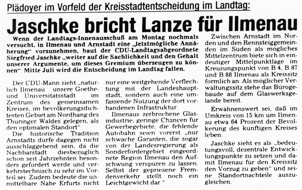 03-07-93 Jaschke bricht Lanze für Ilmenau