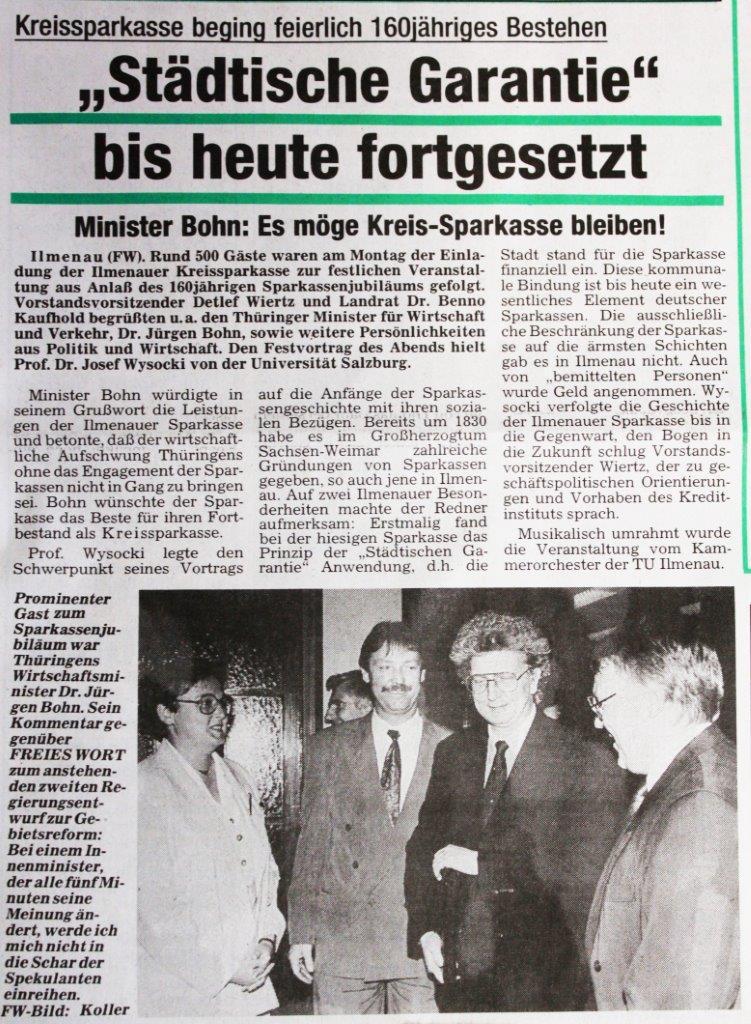 """05-05-93 Kreissparkasse beging feierlich 160jähriges Bestehen: """"Städtische Garantie"""" bis heute fortgesetzt"""