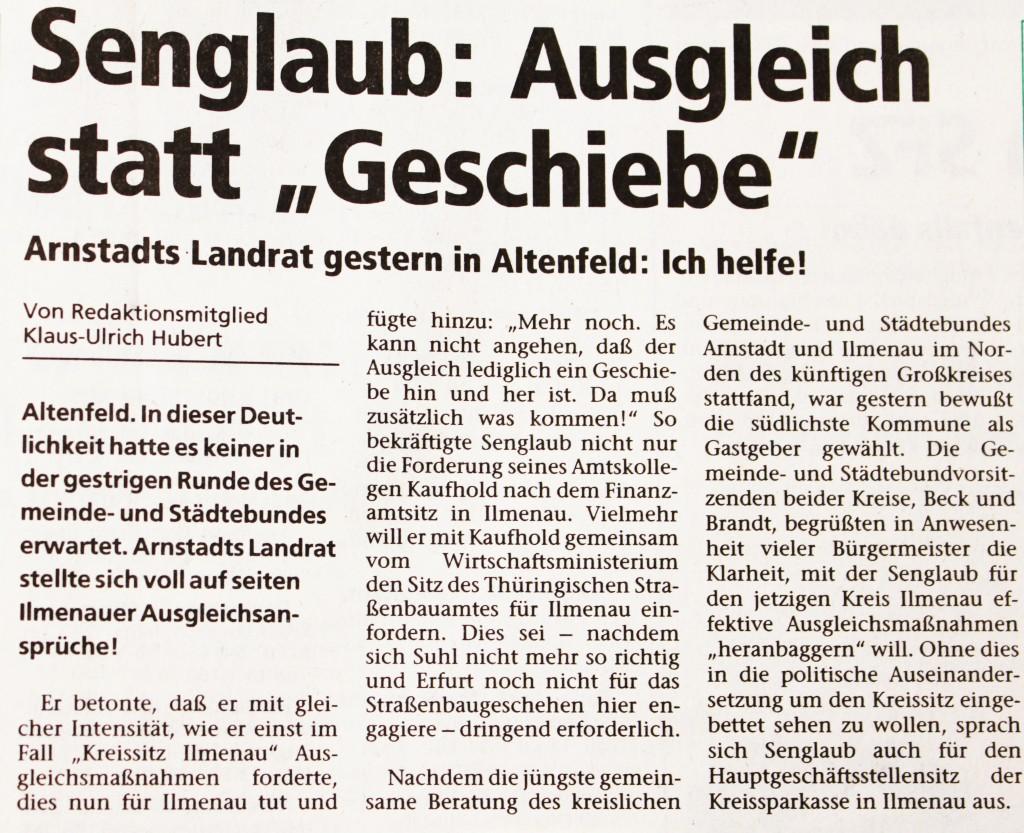 """06-10-93 Senglaub: Ausgleich statt """"Geschiebe"""""""