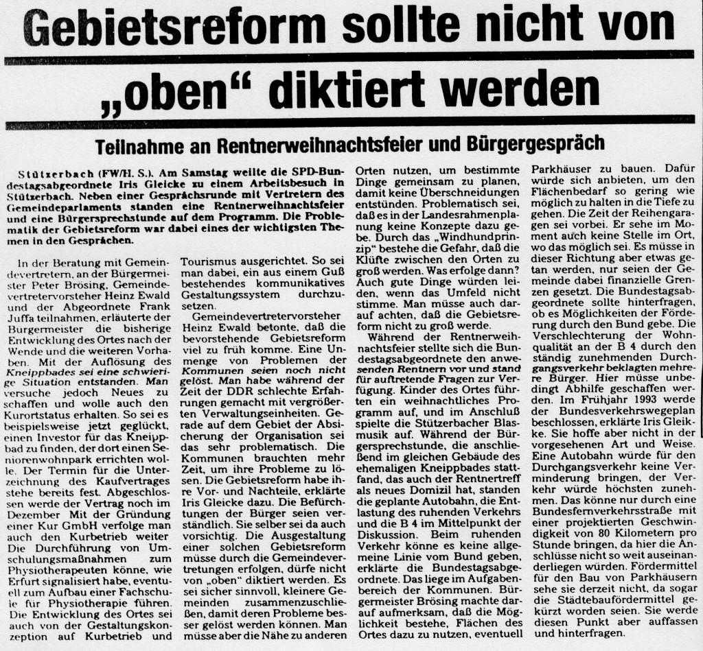 """07-12-92 Gebietsreform sollte nicht von """"oben"""" diktiert werden"""