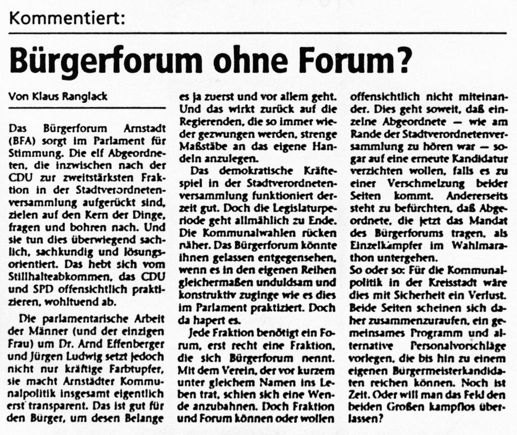 10-02-94 Kommentar: Bürgerforum ohne Forum?
