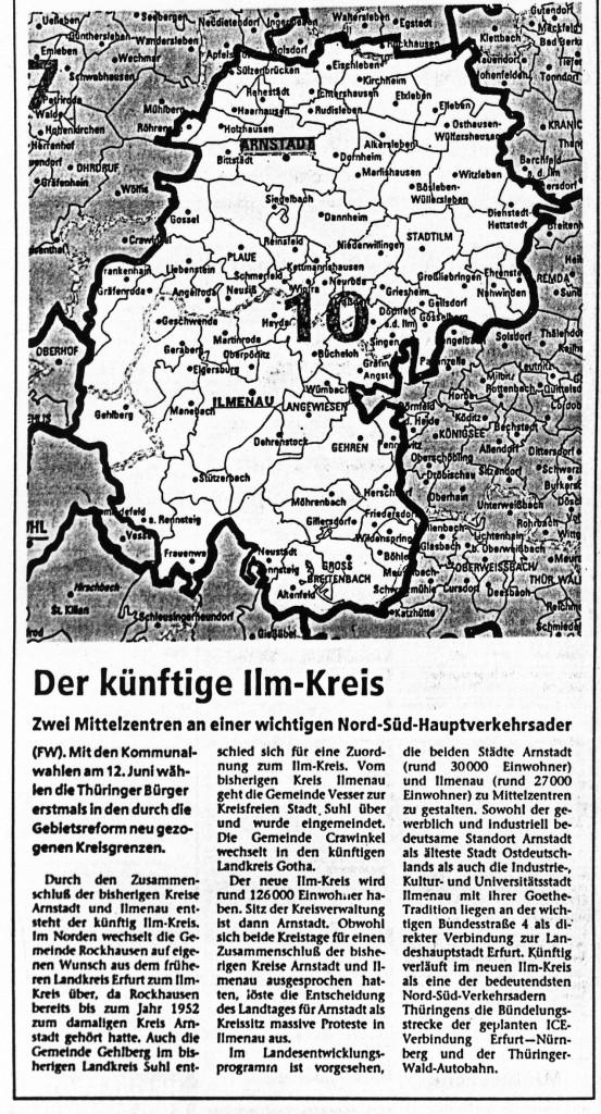 10-06-94 Karte: Der künftige Ilm-Kreis
