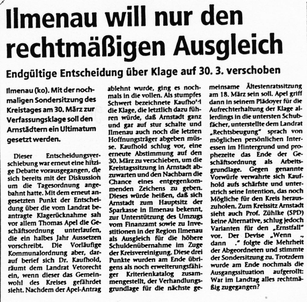 11-03-94 Ilmenau will nur den rechtmäßigen Ausgleich