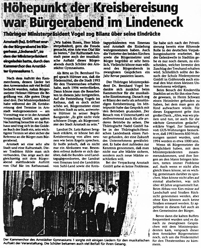 12-01-94 Höhepunkt der Kreisbereisung war Bürgerabend im Lindeneck