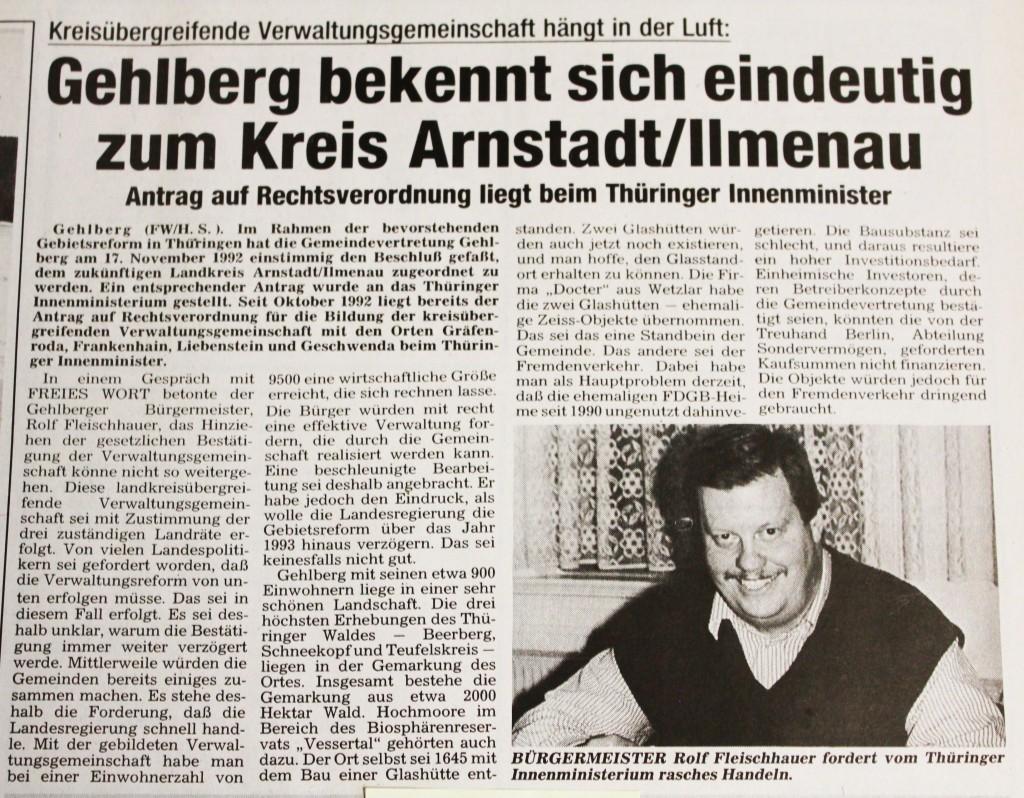 16-01-93 Gehlberg bekennt sich eindeutig zum Kreis Arnstadt/Ilmenau