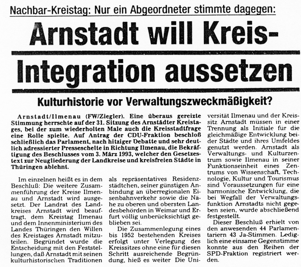 16-04-93 Arnstadt will Kreisintegration aussetzen