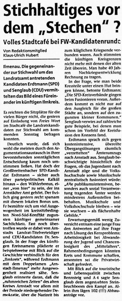 """24-06-94 Stichhaltiges vor dem """"Stechen""""?"""