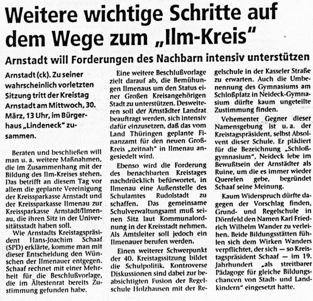 """26-03-94 Weitere wichtige Schritte auf dem Wege zum """"Ilm-Kreis"""""""