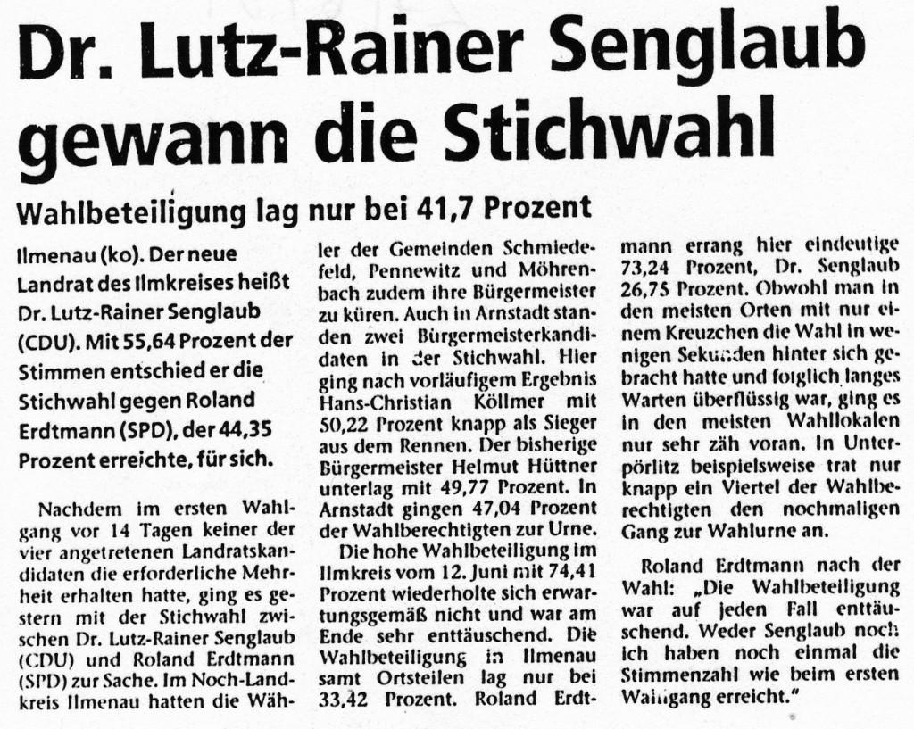 27-06-94 Dr. Lutz-Rainer Senglaub gewann die Stichwahl