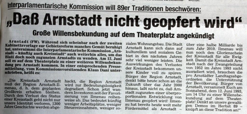 """28-05-93 """"Daß Arnstadt nicht geopfert wird"""""""