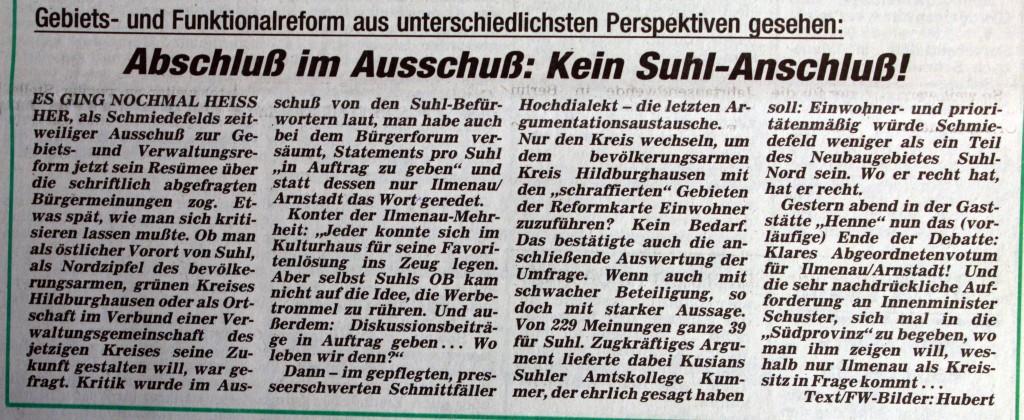 29-01-93 Abschluß im Ausschuß: Kein Suhl-Anschluß!