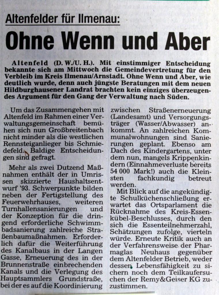 29-01-93 Altenfelder für Ilmenau: Ohne Wenn und Aber