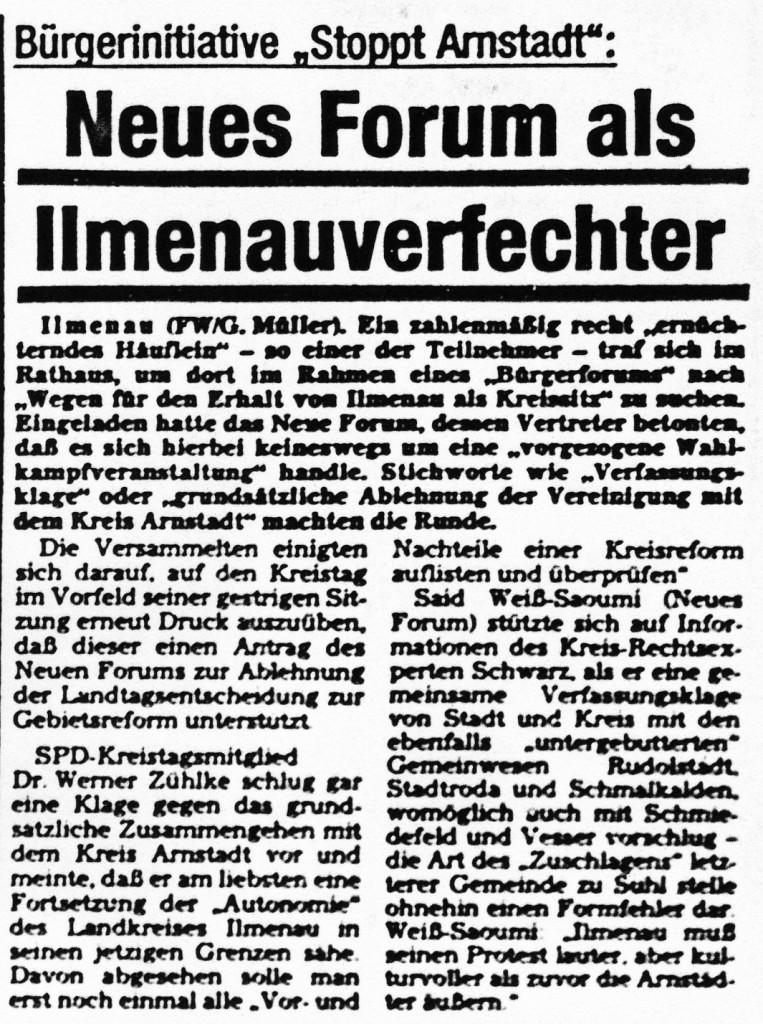 29-07-93 Neues Forum als Ilmenauverfechter