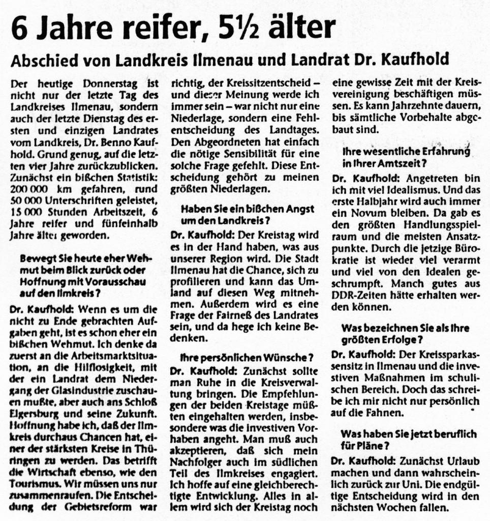 30-06-94 Interview mit Dr. Kaufhold: sechs Jahre reifer, fünfeinhalb älter